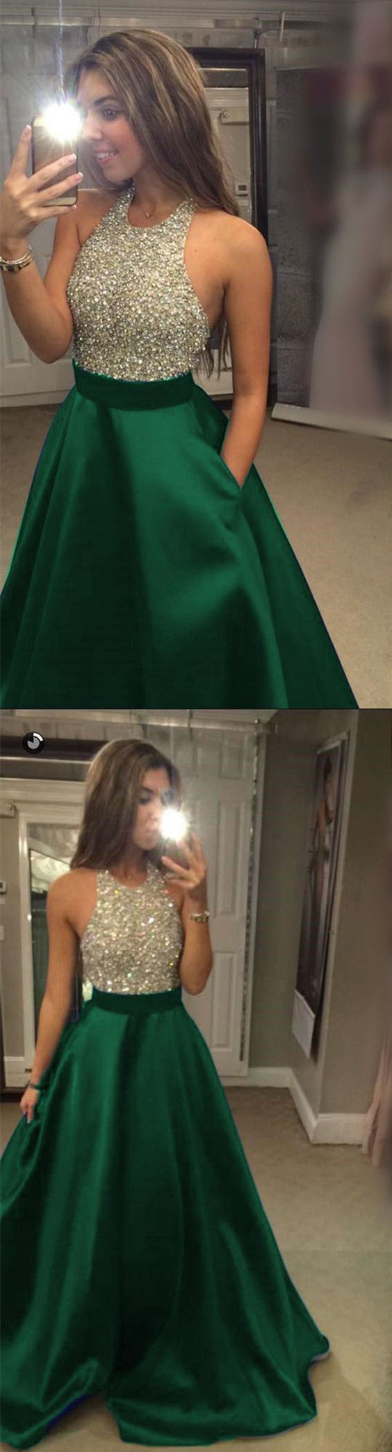 Emerald Green Satin Beaded Halter Prom Dresses Long Evening Gowns For Juniors 2018