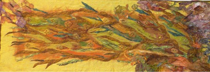 Judith McKinlay - Autumn Forest Floor Quilted and Felted wall hanging, by Judith. Size 2 meters x 1 meter.