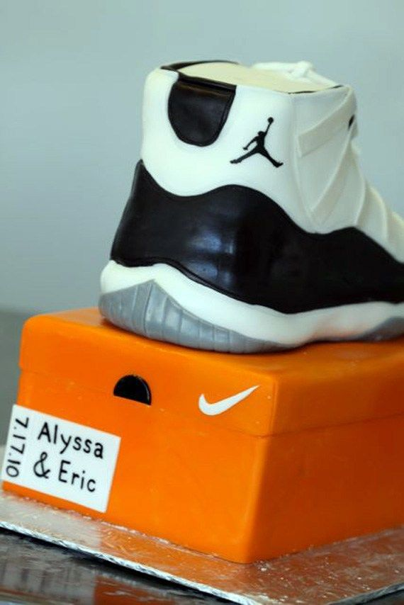 "A detailed step by step process on How to Make a Air Jordan 11 ""Concord"" Sneaker Cake with images to show you how to make your own sneaker cake."