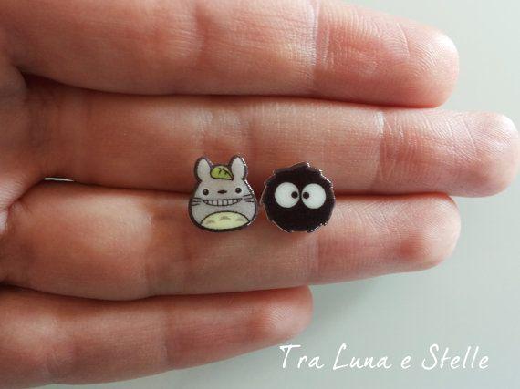 Von Totoro Lappen Ohrringe und dunklen Ruß, Blackie Studio Ghibli-kawaii