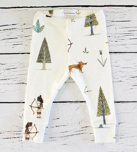 Dress up your little one in his (or her) own exploring gear next time you venture outdoors. These woodsy baby leggings are covered in a whimsical print of trees, plants, foxes and a wee archer on organic cotton. They pull on right over nappies, to keep baby looking adorable, even if your next adventure as close as the backyard.
