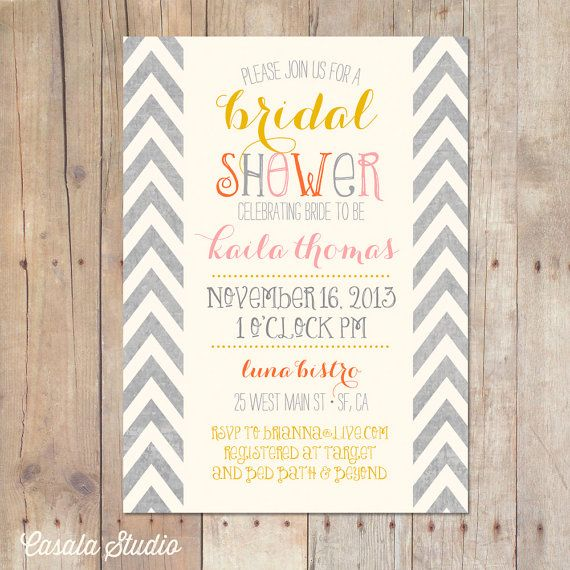best 20 chevron bridal showers ideas on pinterest bridal shower Wedding Shower Gift Cards fall autumn mustard chevron bridal shower invitation baby shower printable or professionally printed cards 5x7 wedding shower gift cards