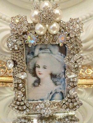 Vintage Rhinestone Jewelry Frame ** Earrings Brooch button lot Marie Antoinette