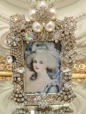 Vintage Rhinestone Jewelry Frame ** Earrings Brooch button lot Marie Antoinette