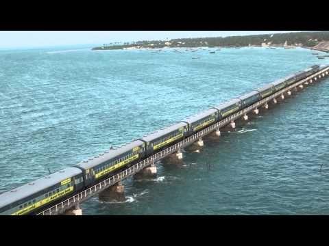 Train on Pamban bridge 4 - YouTube