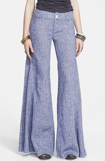 Free People Extreme Flare Leg Linen Pants | Nordstrom