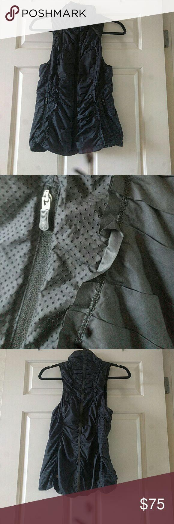 Lululemon vest Black light weight vest, lululeMon size 4, gorgeous details of pleats and texture, pockets on the sides lululemon athletica Tops
