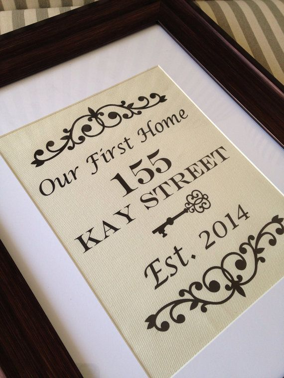 our first home custom address with establish date ..perfect for a new home,  wedding gift or home buyers