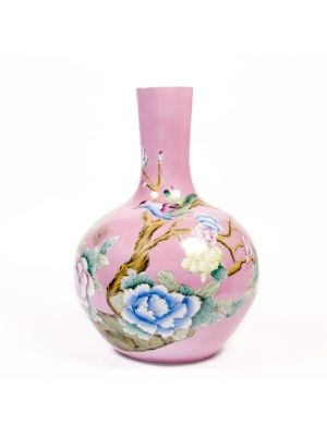 Roze vaas met bloemenprint