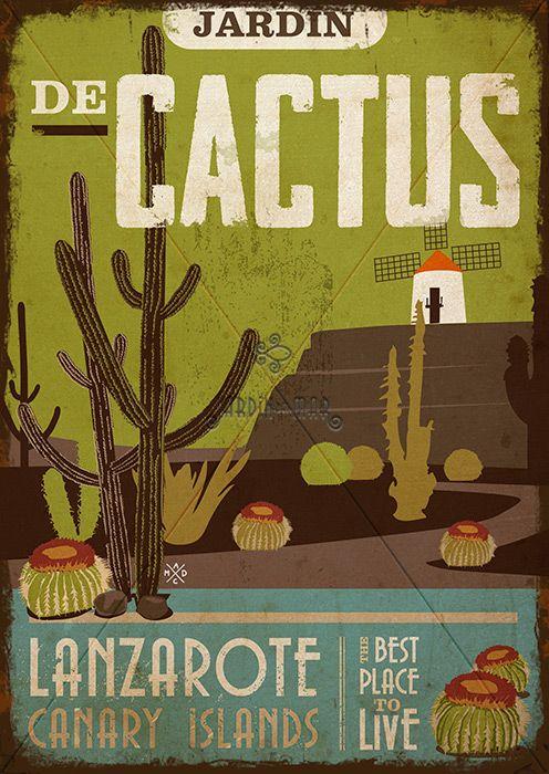 Handmade drawing of vintage signs. Jardín de Cactus - Lanzarote Jardín del Mar - Artesanos Lanzarote #drawing #vintage #wooden #signs #artesania #lanzarote #jardindecactus #manrique