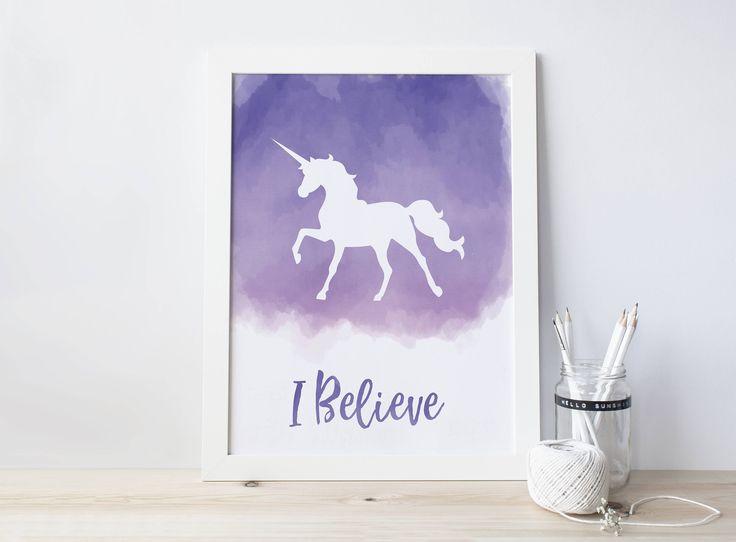 I Believe in Unicorns, Purple Unicorn, Watercolor Unicorn, Silhouette Unicorn Print, Girls Decor, Wall Print, Purple Watercolor Print