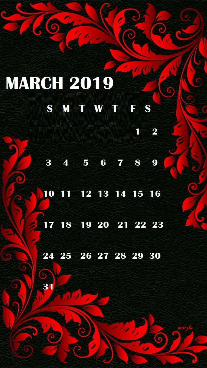 March 2019 iPhone Wallpaper Calendar march march2019