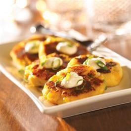 Potato Corn Cakes with Smoked Cheddar and Creme Fraiche   Recipe