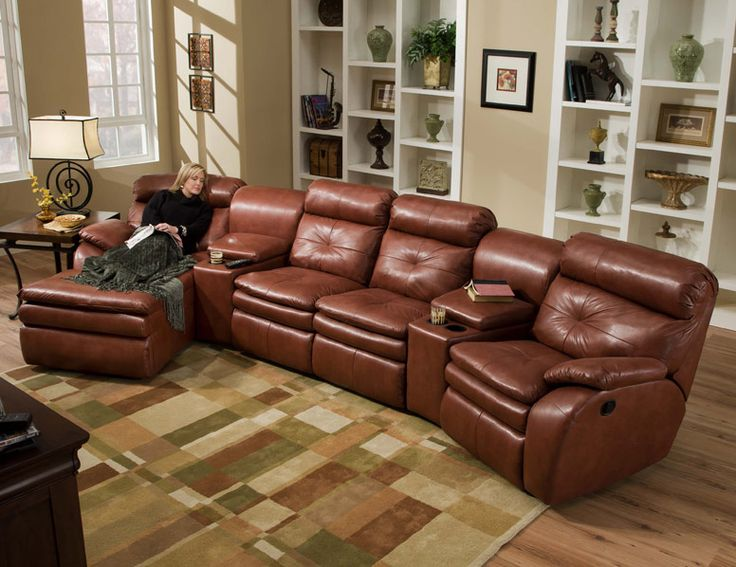 American Made Home Theater Sectional Sofa Set - 3 Recliners u0026 Chaise : home theater sectional sofas - Sectionals, Sofas & Couches