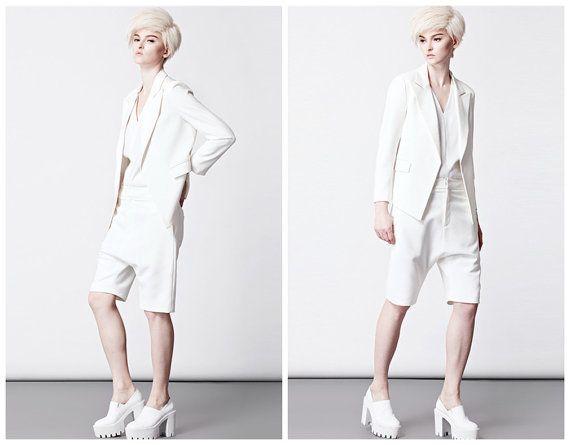 Womens blazer with pockets/White womens jacket from by BWGstudios