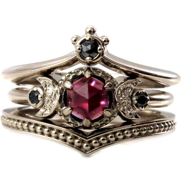 black diamond and garnet crown and moon engagement ring set gothic 71715 - Goth Wedding Rings