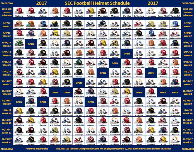 It's here finally! The 2017 SEC Football Helmet Schedule with each SEC team's football schedule for this year.