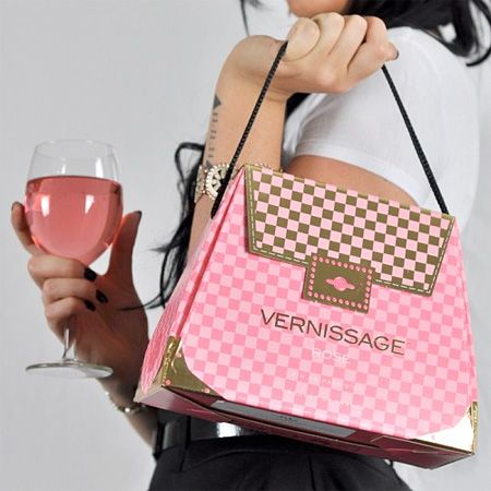 Wine Handbag. Creative wine boxes designed by Sofia Blomberg look like stylish handbags. Vernissage handbags filled with delicious red, white, or rose wine make perfect fashion accessories. Unique boxed wine for all occasions. Handbag wine packaging won prestigious gold award at Pentawards, the world's largest packaging design competition. #Design #Packaging #Graphics #Wine