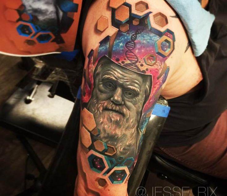 Leonardo da Vinci Face in Space tattoo by Jesse Rix
