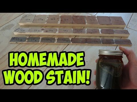 ▶ Easy Homemade Wood Stain - (Iron Acetate) - YouTube  Definitely THE BEST vinegar + steel wool tutorial on the net. The secret is a small/full jar and a ratio of 2 cups vinegar to 1 bundle of 00 or 000 steel wool. Somewhere between 12-24hrs of oxidizing  time is perfect for a brownish grey/farmhouse look.