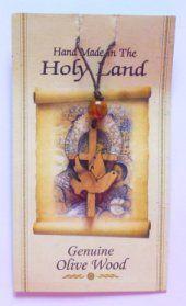 Olive Wood Lourdes Cross & Dove Pendant.