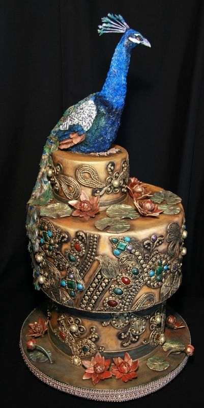India Peacock Wedding Cake