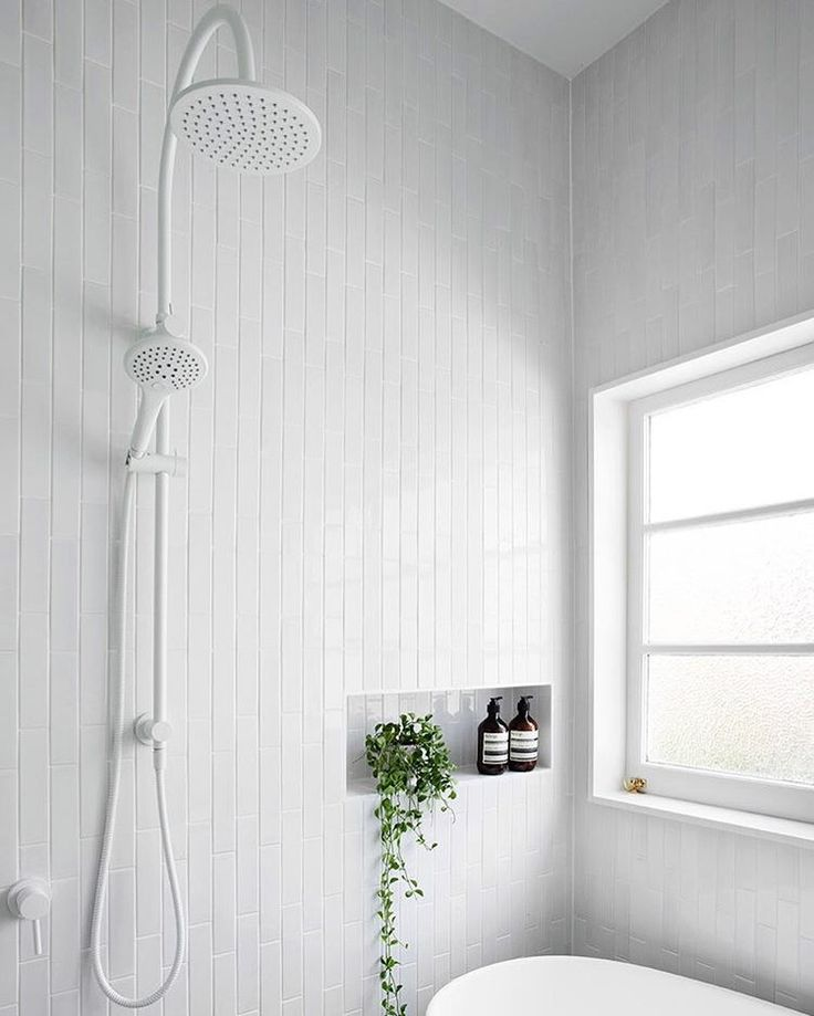 """2,969 Likes, 33 Comments - Scandinavian Lifestyling (@simple.form) on Instagram: """"•• A White out BATHROOM with three twists from our traditional. Vertical tiles, White window frames…"""""""