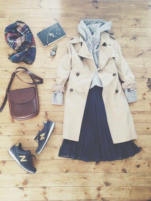 アクセサリー/atelier bloom 淡水パールちょうちょピアス 淡水パールちょうちょネックレス  tops/UNIQLO (Men's) skirt/H&M bag/affordance shoes/newbalance outer/nano・universe