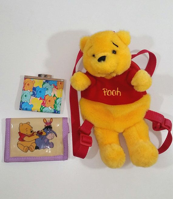 441deb5a57a WINNIE THE POOH Miniature Backpack Plush Coin Purse Charm KeyChain Fob Clip  On Vintage Lot 90s
