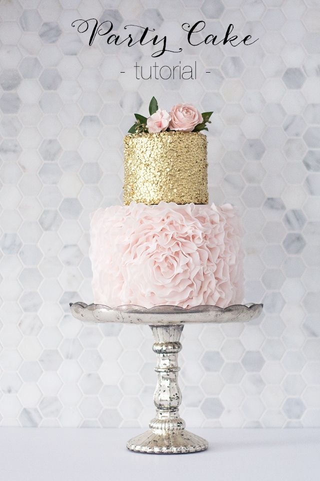 How to DIY a stunning ruffled party cake.  This gorgeous gold and blush cake tutorial would be perfect for a bridal shower or baby girl's birthday!