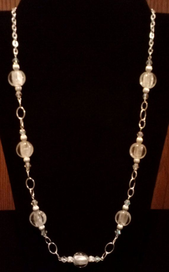 Handmade Beaded Necklace with Crystal Silver Foil and Silver Beads on an Elegant Eyepin Chain, Handmade Silver Wire and Beadwork Jewelry