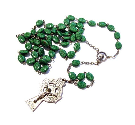Vintage Irish Rosary Bead Necklace