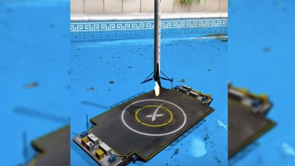 SpaceX rocket lands in swimming pool  in Apple ARKit-powered augmented reality