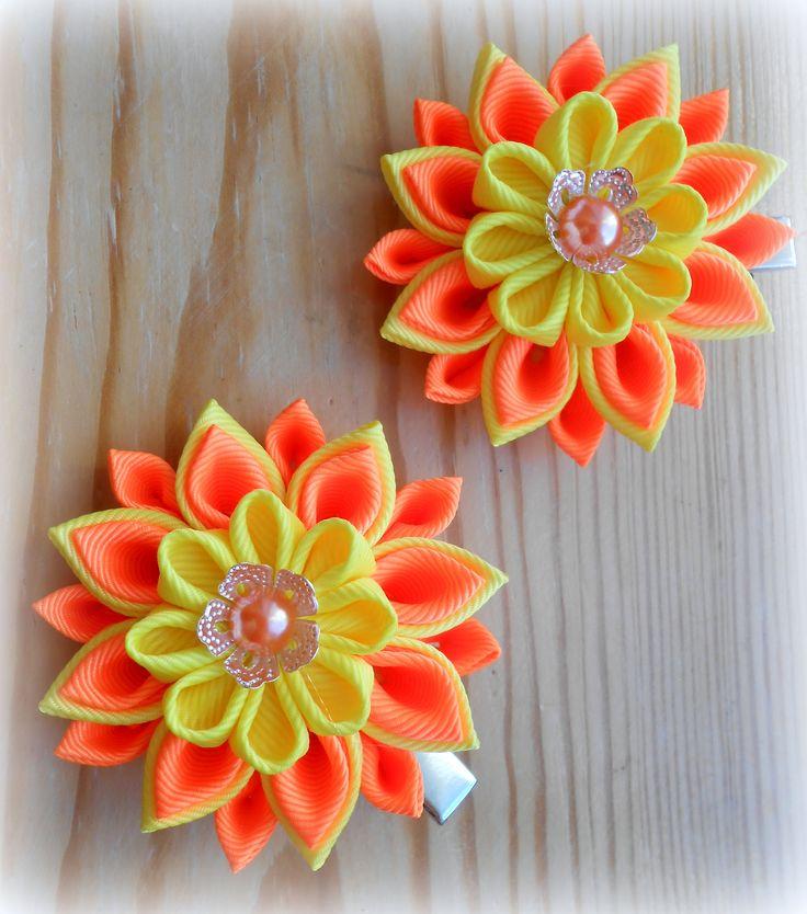 Set of 2 hair clips, Yellow and orange Kanzashi flower hair clip, Fabric flower hair clip, Kanzashi hair flower, Japanese Fabric Flower, by byIraFomina on Etsy