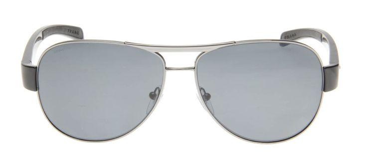 Prada SPS51L 62 - Prata e Preto - Polarizado - Óculos de Sol Masculino - Óculos de Sol