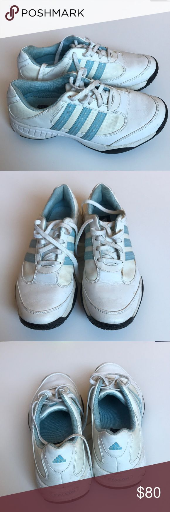 Adidas Falcon Baby Blue and White Golf spike Shoes These are size 6 Adidas Falcon golf shoes with baby blue stripes and interior. They have all golf spikes and each are in great condition. They have been worn but still have lots of life in them. There is a small yellow stain on the left shoe (as pictured). adidas Shoes Athletic Shoes
