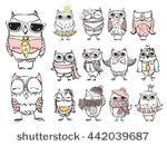 Cute hipster owls