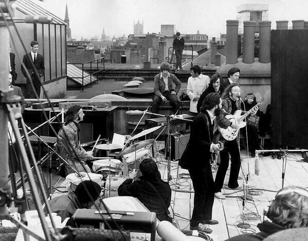 The Beatles' last public performance, on the roof of Apple Records in London.