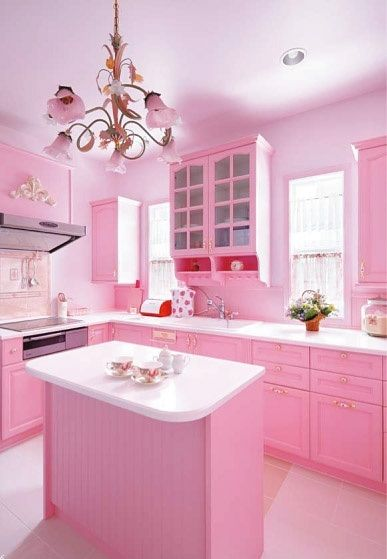 pembe mutfak dekorasyonu fikirleri duvar rengi dolap perde ve aksesuarlar toz pembe seker bebek pembesi (14)