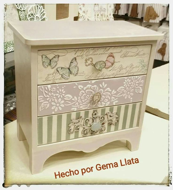Decoupaged and stenciled jewelry box