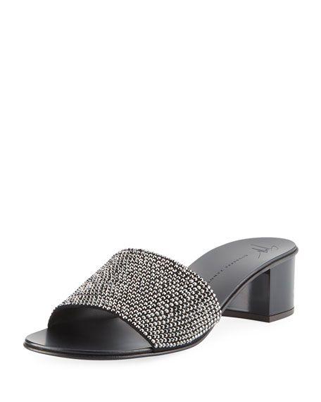 86ec0b9ad Jeweled Single-Band Slide Sandal by Giuseppe Zanotti at Neiman Marcus