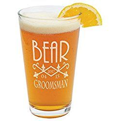Personalized Pilsner Beer Glass - 16oz - Groomsman Wedding Party Best Man - Engraved Drinkware Etched Gifts Barware Custom
