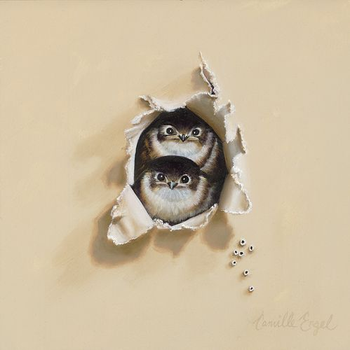 """""""Tiny Trespassers"""" a Baby SwallowsTrompe-l'oeil Bird Oil Painting by Camille Engel by CamilleEngelArt, via Flickr"""