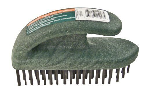 Wooster Brush 1818 Ergo Wire Scrubber by Wooster Brush. $10.29. From the Manufacturer                Removes flaking paint, rust, dirt and scale. Curved, sander-style handle ergonomically fits the palm and allows users to press down more firmly when scrubbing. Made of splinter-proof polypropylene instead of wood. Staggered tufts instead of rows provide better coverage, eliminate rake marks. Use on small to large surfaces of wood, metal or masonry. This industrial-qualit...