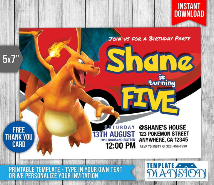 birthday  charizard birthday party invitation sample