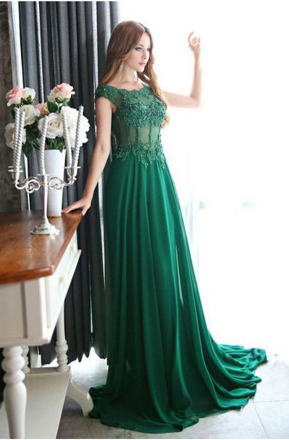 A green chiffon ball gown with a transparent applique ball gown, evening gown.