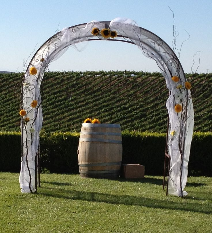 Rustic Wedding Arch With Burlap: Beautiful Decorated Wedding Arches With Sunflower In A Out