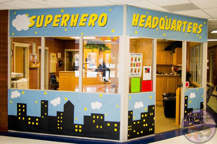"""Great idea for decorating the office when using the """"I Teach. What's Your Superpower?"""" theme!"""
