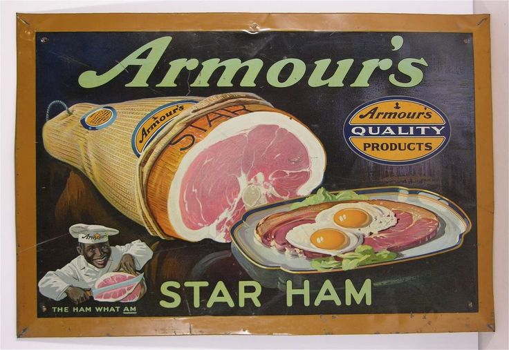 1920s BLACK AMERICANA ARMOUR HAM MEAT PACKING TIN LITHOGRAPH ADVERTISING SIGN
