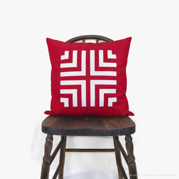 Red Aztec pillow cover  Chevron pillow  by ClassicByNature on Etsy, $46.00